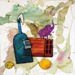 Natura Morta, il necessario per la sommossa- mattone, molotov, limoni e tanta fantasia - 50x50cm - Mrfijodor 2012